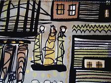 2 mid century modern Eames era vintage fabric drapes curtain panels dated 1955!!