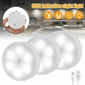 LED Puck Lights Motion Sensor Kitchen Under Cabinet Closet Stairs Night Lighting