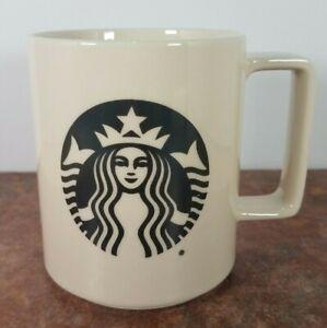 STARBUCKS Coffee Mug 2015 Mermaid Logo Off White Cup Made in USA 14oz. D Handle