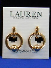 Ralph Lauren Goldtone EZ COMFORT Clip Door Knocker Hoop Clip On Earrings $28