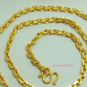 """5 mm Men's Chain 22K 23K 24K Thai Baht Gold Filled Yellow GP Necklace 24""""Jewelry"""