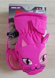 NEVICA KITTEN MITTS girls 12 - 24 months CAT winter ANIMAL gloves PINK skiing