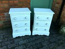 Lovely Matching Pair of Solid Pine White Painted Bedside Drawers