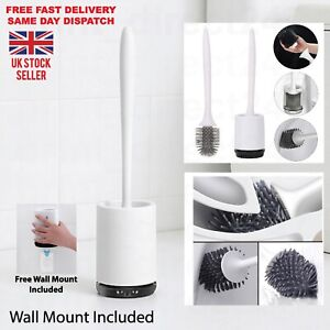 Soft Silicone Bristle Toilet Brush With Holder & Wall-Mount Cleaning Brush Set