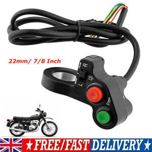 Handlebar Light Horn On/Off Signal Indicator Switch Electric Bike Motorbike 22mm