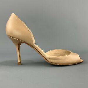 JIMMY CHOO Size 7.5 Beige Leather D'Orsay Peep Toe Pumps