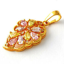 Womens Stone Pendants Fashion Wedding Rainbow Topaz Leaf Charm Free Shipping