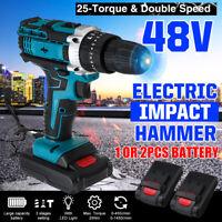 48V 1500RPM Electric Hammer Drill Cordless 28N.m LED Light Screwdriver + Battery