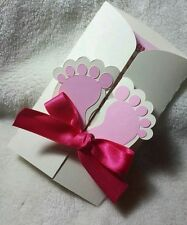 10 Baby Shower Custom Invitation Cards Personalized for Boy/Girl Feet Blue/Pink