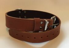"""REAL LEATHER PLAIN DOG COLLAR WITH SILVER OR BRASS FITTINGS - 1"""" WIDE"""