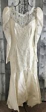 Vintage Lace Satin Mermaid Wedding Bridal Gown Dress Sequin Beaded Bling Small