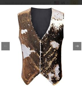 Silver Sequin 3 Button Waistcoat (Men's Small / Women's Medium) Belt Fastener