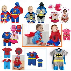 BABY SUPERHERO ROMPER with REMOVABLE CAPE (Ships from United States)