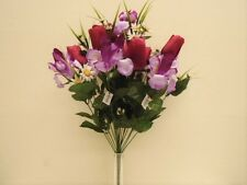 "BEAUTY PURPLE Mix Tulip Iris Bush 22 Artificial Silk Flowers 22"" Bouquet 4927BP"