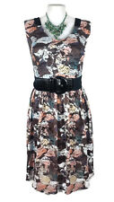CITY CHIC Dress - Vintage Style Lace Pleated Stretch Brown White Green - S/16
