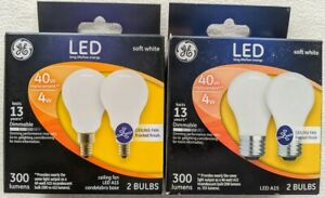 4 Pack GE LED Standard 40w 4w A15 Soft White Ceiling Fan Frosted Light Bulbs