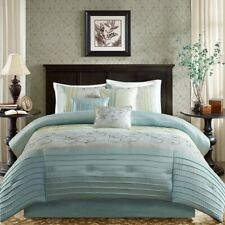 Madison Park Serene Queen Size Bed Comforter Set Bed in A Bag - Aqua, Embroidere