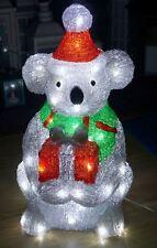 47cm Christmas Koala Holding Present - Acrylic Motif