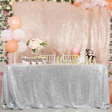 """Sequin Tablecloth 50""""x80"""" Silver Sequin Glitter Tablecloth Wedding Table Linens"""