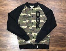 Dgk Skateboards Camouflaged Sweatshirt Jacket Sweater Green Black Knit Medium