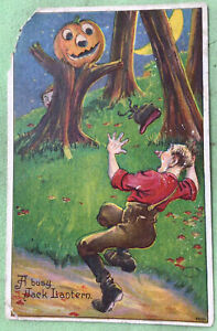 A Busy Jack Lantern  Halloween Vintage Postcard DAMAGED
