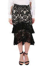 Wite - Duchess Skirt | Black Floral Lace Ruffle Midi | Size 8 | RRP: $150