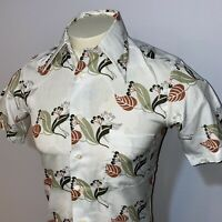 Vtg 60s 70s Disco Shirt CAREER CLUB Ultressa POLYESTER Ugly print MOD Mens SMALL