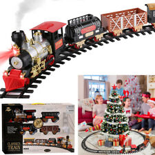 Electric Christmas Train Tracks Set Kids Toy With Lights Sounds Smoke Under Tree