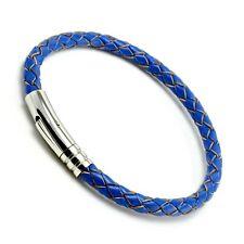 Azul Hombre Pulsera de Cuero Acero Inoxidable Trigger Cierre 5mm Trenzado Cuero