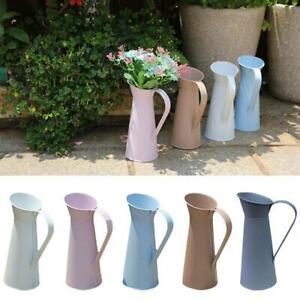 Vintage Shabby Flower Vase Tin Pitcher Jug Metal Wedding Home Decor.
