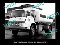 OLD POSTCARD SIZE PHOTO OF ESSO OIL COMPANY FUEL TANKER c1970s BEDFORD TRUCK