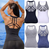 Women's Sports Yoga Tank Tops Sleeveless Padded Workout Active Vest Tee Shirt G9