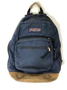 Vintage 90's Jansport Backpack, RIPPED STRAP, Navy Blue Classic Leather Bottom