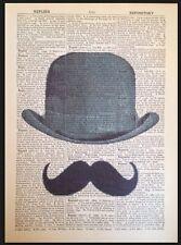 Schnurrbart Aufdruck Vintage Wörterbuch Seite Wandkunst Bild Hipster Melone Hut
