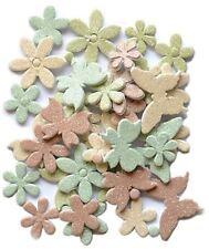 Handmade Glitter Sticker Scrapbooking 3-D foam Dasies & Butterflies Neutral