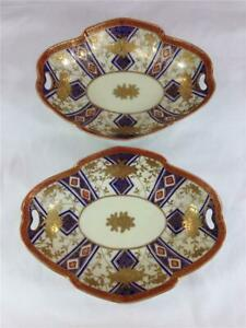 Qty (2) Meito Hand Painted Made In Japan Serving Bowls Red Blue and Gold