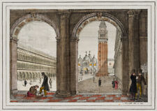 D.MORETTI(*1790), Markusplatz in Venedig vom Palazzo Reale aus, 1837, Kol. Kst.