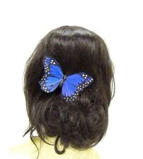 Large Blue Butterfly Hair Clip Fascinator Bridesmaid Festival Headpiece Big 2848