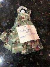 "Antique 6 1/2"" German China Head Doll, Fabric body, 1850 Bombazine Fabric Dress"