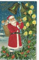 ~SILK~Santa Claus with~ Toy Basket~Candle-lit Tree~Holly~Christmas Postcard-m308