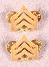Enlisted Rank Pin:  Marine Sergeant - gilt, various makers, pair