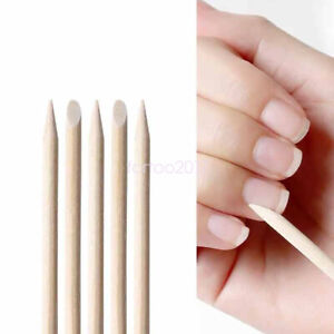 100pcs Double Headed Orange Wood Sticks Nail Art Cuticle Pusher Remover Tools