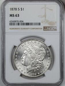 1878-S $1 Morgan Silver Dollar MS63 NGC 6260870-004