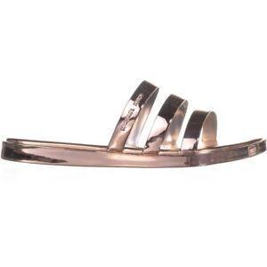 Michael Kors Keiko Women Triple-Band Slide Sandal Gold, Silver