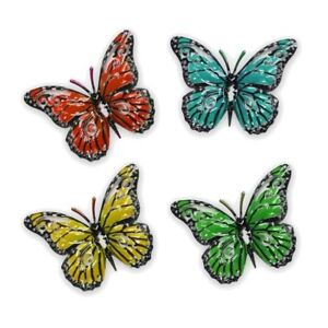 Set of 4 Metal Butterfly Wall Art Garden Ornaments - Small Multicoloured