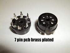 Tube Socket PCB, 7 pin, bake, contact brass plated phosphor,Elco 1960, NOS, 2X
