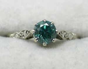 Vintage 9 carat White Gold And Topaz Solitaire Ring Size M