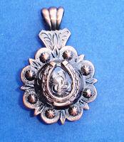 Western Jewelry Antique Black Copper Horseshoe Concho Pendant Kit