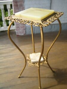 Antique Victorian 2-Tier Gold Gilt Iron, Brass & Marble Plant Stand Table