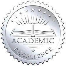 "Elegant SILVER embossed foil certificate seals ""ACADEMIC EXCELLENCE"" - 50 pack"